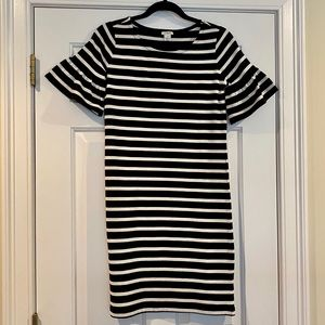 J Crew Black And White Stripe Dress